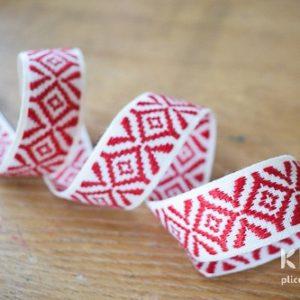 Panglica de bumbac - decorata - 2.7 cm