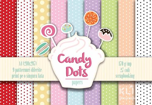 Carton decorat A4 - Candy Dots - 27 coli