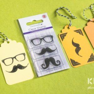 Stampila transparenta ochelari si mustata