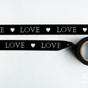 Banda adeziva decorata 8m - LOVE