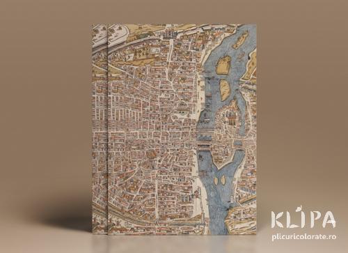Carton decorat A4 - Paris Map - 5 buc