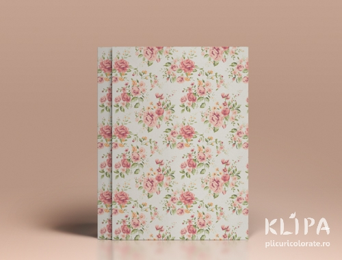 Carton decorat A4 - Shabby Chic roses - 5 buc