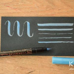 Brush-pen metalic ZIG Fudebiyori - Albastru